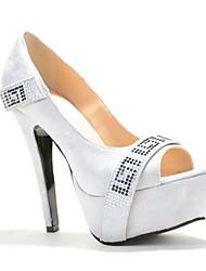 Suede Damen Stiletto Plattform Ferse Peep-Toe Sandaletten mit Strass Dekoration Party-Schuhe
