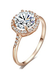 18K Rose Gold Plated Cut Swiss Cubic Zirconia Diamond Halo Engagement Ring