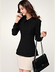 Women's Solid Black/White Blouse , Shirt Collar Long Sleeve Lace