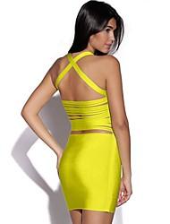 Желтый Сексуальная Открыть Назад Тонкий Bodycon Платье повязки