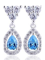 1 Pair Women's Classic 925 Sterling Silver Dangle Earrings with Pear Shape Zircon