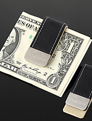 Personalized Gift Men's Black PU Leather Metal Money Clip (within 30 characters)