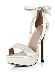 Satin Women's Stiletto Heel Open Toe Sandals Shoes  with Buckle & Bowknot