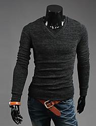 KICAI Herrenmode mit V-Ausschnitt Abnehmen Knitwer (Grau)