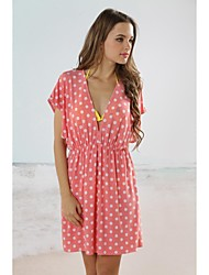 Women's Cover-Ups , Dot Acrylic/Spandex Pink
