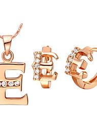 plaqué alphabet lettre e or, argent (colliers et boucles d'oreilles) des ensembles de bijoux de mariage