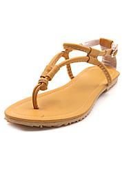 Las mujeres de piel talón plano Confort zapatos de las sandalias (más colores)