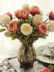 """18 """"H Europese Rose + Glazen Vaas"""