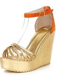 gamuza / women 's plataforma del talón de cuña de las sandalias de punta abierta con zapatos animal print (más colores)