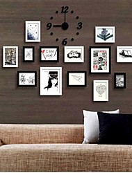 Black White Color Photo Wall Frame Collection Set of 13 with DIY a Wall Clock
