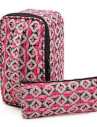 2 piezas de Portable Rose Cuadrado y Maletín en forma Espesar Maquillaje / Cosméticos Bag Set de cosméticos de almacenamiento
