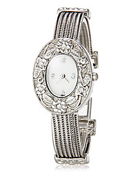 Women's Flower Pattern Oval Dial Quartz Analog Bracelet Watch Cool Watches Unique Watches