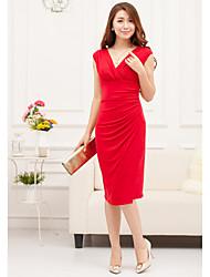 AMC Slimming Waist V Neck Dress(Red)