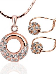 High Class Round Tin Alloy Rose Gold Plated Jewelry Set