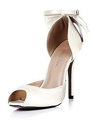 Satin Women's Stiletto Heel  Peed Toe Sandals Shoes with Bowknot
