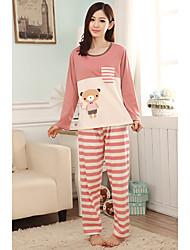 Mulheres Costura Stripe Panda Pajama Padrão
