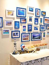 Frame Collection Mixta azul de la foto del color blanco Conjunto de 25
