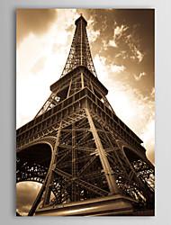 Натяжные Печать холст Искусство Пейзаж Посмотрите на Эйфелеву башню, Франции
