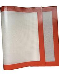 De gran tamaño a prueba de calor para no pegarse FDA silicona fibra de vidrio para hornear Mat (color al azar)