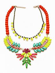 Euramerican fluorescente resina Collar babero lindo de la Mujer