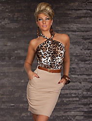 Women's Bodycon Leopard Sheath Dress , Halter Above Knee Cotton / Chiffon
