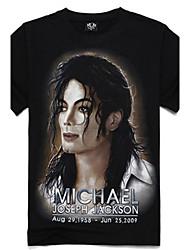 Herren 3D Michael Jackson Print Kurzarm T-Shirt