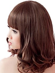 Fashion Hair Middle Long Curly Synthetic Full Bang Wigs 3 Colors Available