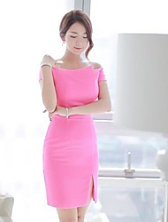 Women's  Off The Shoulder  Bateau Mini  Dress