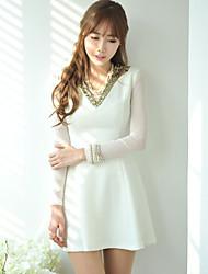 Collar Dress Sexy V de la Mujer