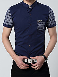 JPNZ 2014 Spring New Korean Fashion Lapel Stitching Short Sleeve Simple Stripes Cotton Shirt (Navy Blue)