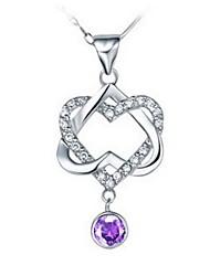 Coeur gracieux argenté collier d'alliage de femmes (1 PC) (Violet, Blanc)