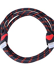CM001 1080P HDMI 1.4 Male to Male Cable for TV and Computer - Red + Black (150cm)