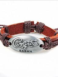 Z&X®  Fashion Gecko 24cm Men's Coffee LeatherZ&Alloy Leather Bracelet (1 Pc)