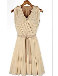 MFL Moda y plisado lindo Falda (Almond)