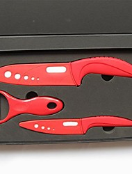 3 Pieces Ceramic Knife Set with Covers, 4'' Paring Knife 6'' Chef Knife with Covers and Peeler with Gift Box