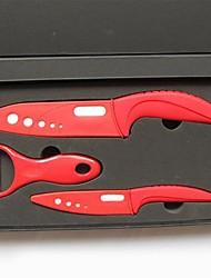 3 Pièces couteau en céramique Set avec enjoliveurs, 4'' 6'' Couteau Couteau de chef avec enjoliveurs et Peeler avec boîte-cadeau