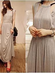 Women's Solid Black/Gray/Pink Dress , Beach/Casual/Maxi Round Neck Sleeveless