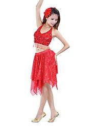 Jupes(Comme l'image,Polyester,Spectacle Salle de bal)Spectacle Salle de bal- pourFemme Paillettes Entraînement Danse du ventrePrintemps,