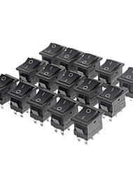 JIAHUI A052 Rocker Switch 6 pinos (15 Piece Pack, Preto)