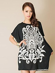 Neue Frauen-Größe Frauen Außenhandel Weiß Round Neck Bat Sleeve Black Dress (Schneiderei Random)