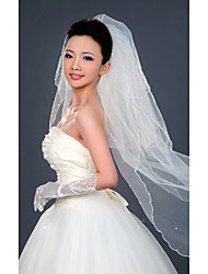 Wedding Veil Three-tier Fingertip Veils Pencil Edge 47.24 in (120cm) Tulle WhiteA-line, Ball Gown, Princess, Sheath/ Column, Trumpet/