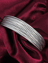 High Quality European Silver Silver-Plated Thin Veins Cuffed Bracelets