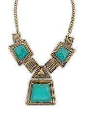 European Vintage Style (Geometry Patch) Fashion ResinChain Statement Necklace (More Colors)  (1 pc)