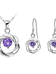 Sweet Silver-Plated Cubic Zirconia Pierced Flower Women's Jewelry Set(Necklace,Earrings)(White,Purple)