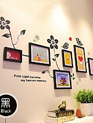 Black Photo Frame Collection Set of 7 with Flower Wall Sticker