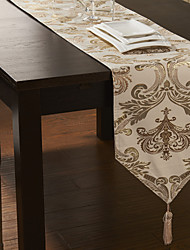 Concise Gold Embroidery Beige Polyester Table Runner