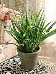 "13H""Green Plant + Ceramic Vase Of Europe Type Style"