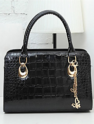 Caelyn Women's Elegant Alligator Skin Pattern Solid Color Black Tote