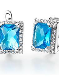 Великолепная Посеребренная Серебро с голубой кубический цирконий Прямоугольный женского сережкой