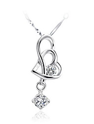 Vintage Heart-Shape Women's Slivery Alloy Necklace(1 Pc)(Purple,White)